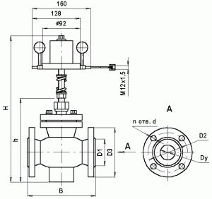 Габаритные и присоединительные размеры регулятора давления KP-1Д